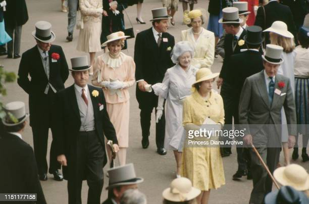 Queen Elizabeth II, Prince Philip, Lady Diana Spencer and the Queen Mother attend the races at Ascot, England, June 1981. This is Diana's first Ascot...