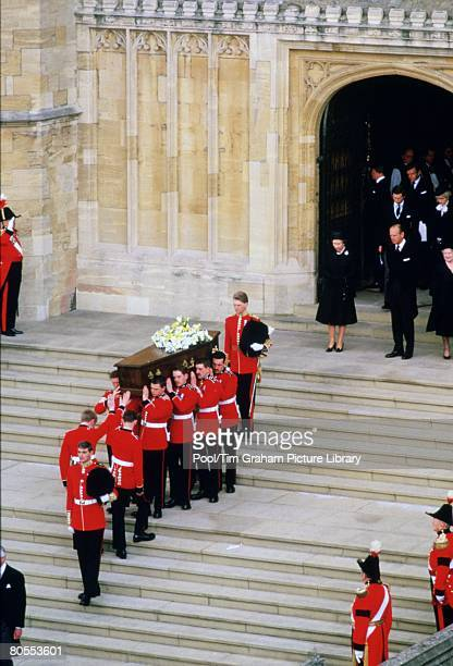 Queen Elizabeth II Prince Philip Prince Charles and Princess Diana attend the funeral of the Duchess of Windsor widow of Duke of Windsor formerly...
