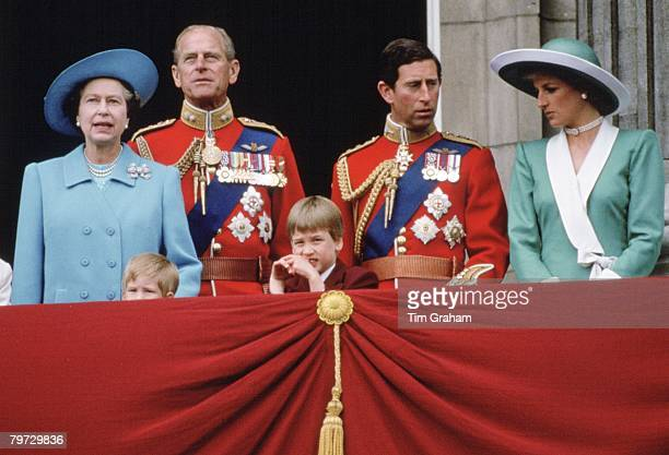 Queen Elizabeth II Prince Philip Prince Charles Diana Princess of Wales Prince William and Prince Harry stand on the balcony of Buckingham Palace for...