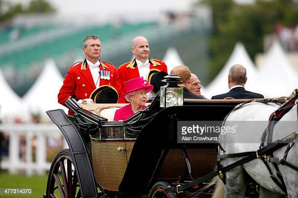 Queen Elizabeth II Prince Phillip Duke Of Edinburgh Prince Harry and Prince Andrew Duke of York arrive on the royal procession during Royal Ascot...