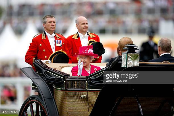 Queen Elizabeth II Prince Phillip Duke Of Edinburgh Prince Henry of Wales and Duke of York arrive on the royal procession during Royal Ascot 2015 at...