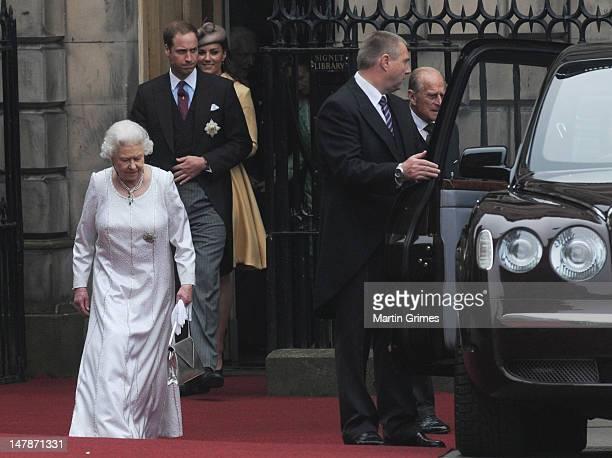 Queen Elizabeth II, Prince William, Duke of Cambridge, Catherine, Duchess of Cambridge and Prince Philip, Duke of Edinburgh attend the Thistle...