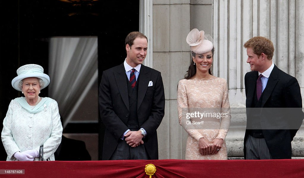 Queen Elizabeth II, Prince William, Duke of Cambridge, Prince Harry and Catherine, Duchess of Cambridge on the balcony of Buckingham Palace after the service of thanksgiving at St.Paul's Cathedral on June 5, 2012 in London, England. For only the second time in its history the UK celebrates the Diamond Jubilee of a monarch. Her Majesty Queen Elizabeth II celebrates the 60th anniversary of her ascension to the throne. Thousands of wellwishers from around the world have flocked to London to witness the spectacle of the weekend's celebrations.