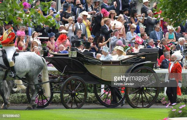 Queen Elizabeth II , Princess Alexandra, The Honourable Lady Ogilvy , The Honorable Harry Herbert and Vice Admiral Tony Johnstone-Burt arrive in the...
