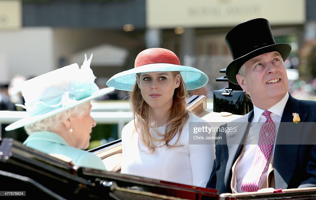 Queen Elizabeth II, Princess Beatrice and Prince Andrew, Duke of York arrive in the Parade Ring they attend Ladies Day on day 3 of Royal Ascot at Ascot Racecourse on June 18, 2015 in Ascot, England.