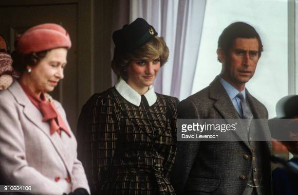 Queen Elizabeth II Princess Diana and Prince Charles at the Braemar Games in Braemar Scotland on September 4 1982 The Braemar Games are one of the...