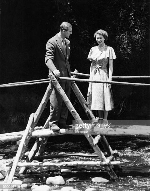 Queen Elizabeth II Princess Elizabeth with the Duke of Edinburgh at Treetops Kenya 05/02/52circa