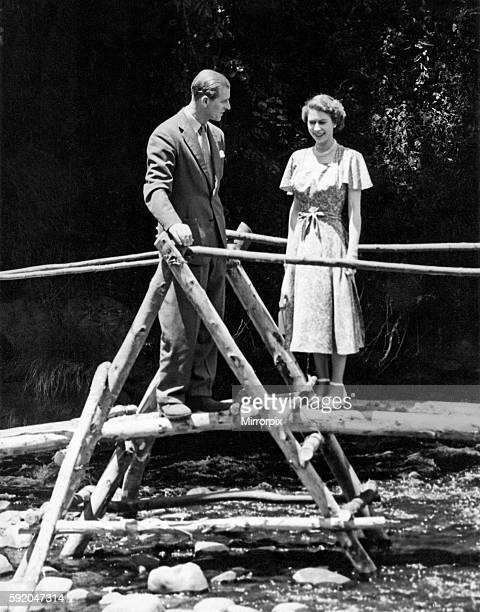 Queen Elizabeth II Princess Elizabeth with the Duke of Edinburgh at Treetops Kenya February 1952
