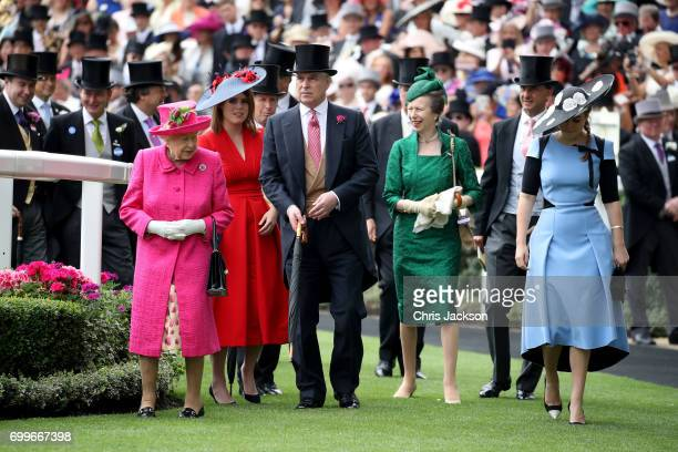Queen Elizabeth II, Princess Eugenie of York, Prince Andrew, Duke of York, Princess Anne, Princess Royal and Princess Beatrice of York are seen in...