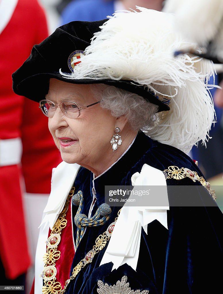 Queen Elizabeth II processes to St George's Chapel for the Most Noble Order of the Garter Ceremony on June 16, 2014 in Windsor, England. The Order of the Garter is the senior and oldest British Order of Chivalry, founded by Edward III in 1348. Membership in the order is limited to the sovereign, the Prince of Wales, and no more than twenty-four members.
