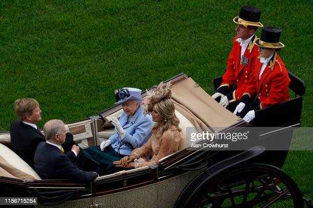 Queen Elizabeth II Queen Maxima of the Netherlands Prince Andrew Duke of York and King WillemAlexander of the Netherlands arrives by carriage on day...