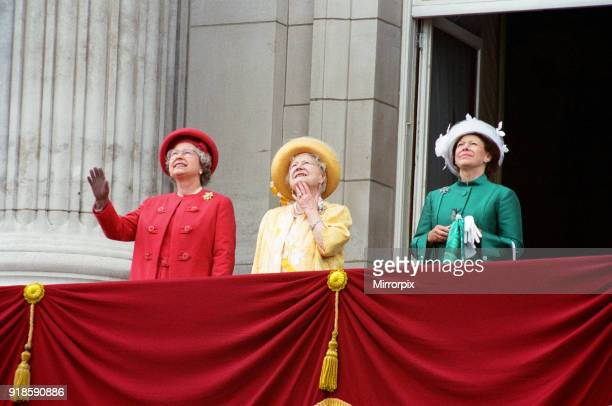 Queen Elizabeth II Queen Mother and Princess Margaret on the balcony of Buckingham Palace to celebrate the 50th anniversary of VE Day 8th May 1995