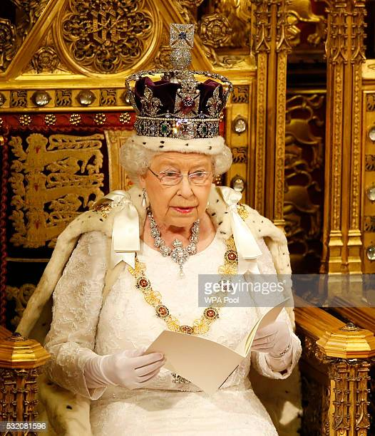 Queen Elizabeth II reads the Queen's Speech from the throne during State Opening of Parliament in the House of Lords at the Palace of Westminster on...