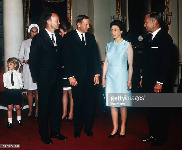 Queen Elizabeth II receives Apollo 11 astronauts Michael Collins Neil Armstrong and Buzz Aldrin at Buckingham Palace as part of their world tour Back...