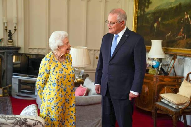 GBR: Queen Elizabeth II Meets Australian PM At Windsor Castle