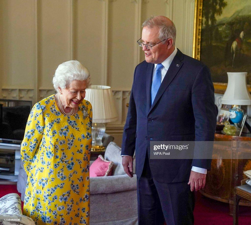 Queen Elizabeth II Meets Australian PM At Windsor Castle : News Photo