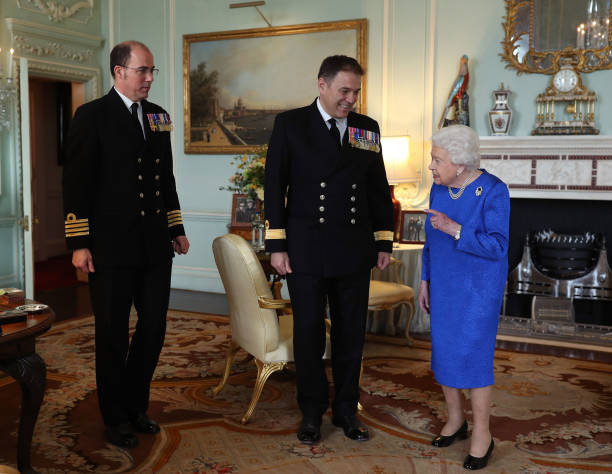GBR: Queen Elizabeth II Holds Private Audience In Buckingham Palace