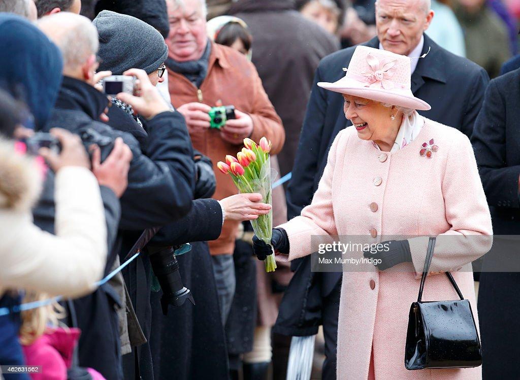 The Queen & Duke Of Edinburgh Attend Sunday Service At West Newton : News Photo