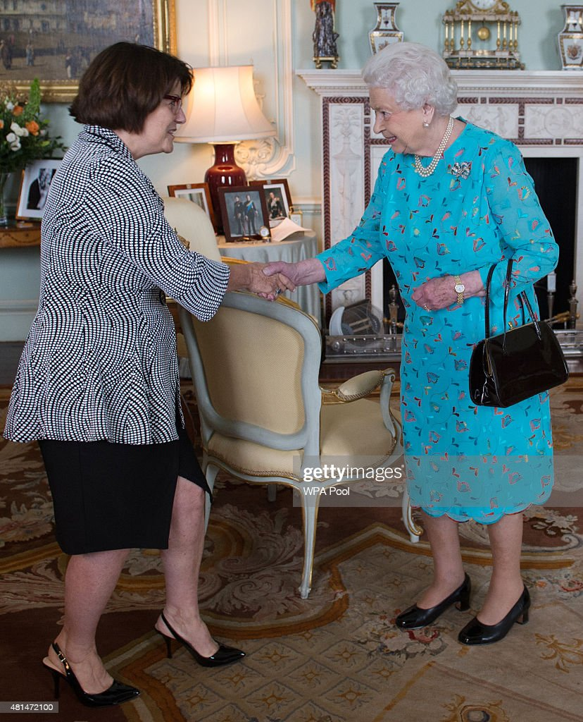 Queen Elizabeth II Receives Jocelyn Roy-Vienneau her husband Ronald at Buckingham Palace : News Photo