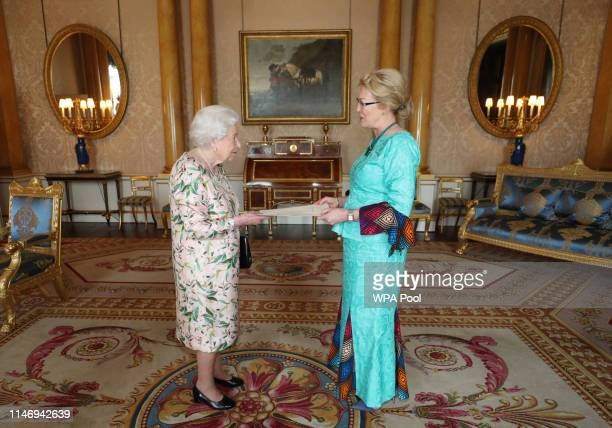 Queen Elizabeth II receives Linda Scott High Commissioner for the Republic of Namibia during an audience at Buckingham Palace on May 30 2019 in...
