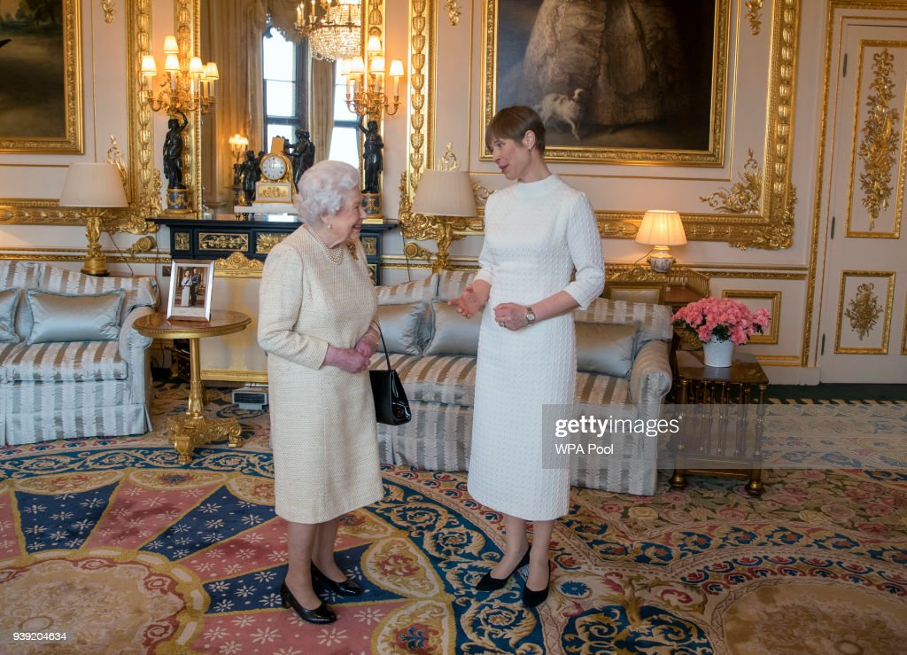 Queen Elizabeth II receives President of Estonia Kersti Kaljulaid during a private audience at Buckingham Palace on March 28, 2018 in London, England.