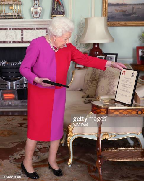 Queen Elizabeth II receives Professor Mark Compton Lord Prior of the Order of St John during an audience where he presented Her Majesty with the...
