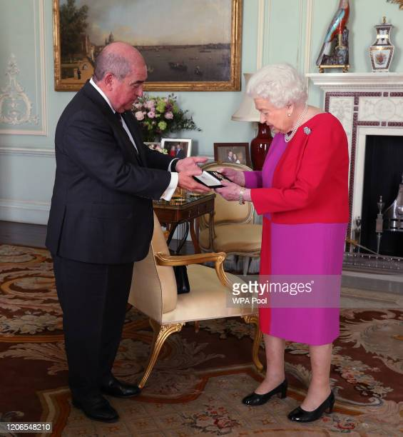 Queen Elizabeth II, receives Professor Mark Compton, Lord Prior of the Order of St John, during an audience, where he presented Her Majesty with the...
