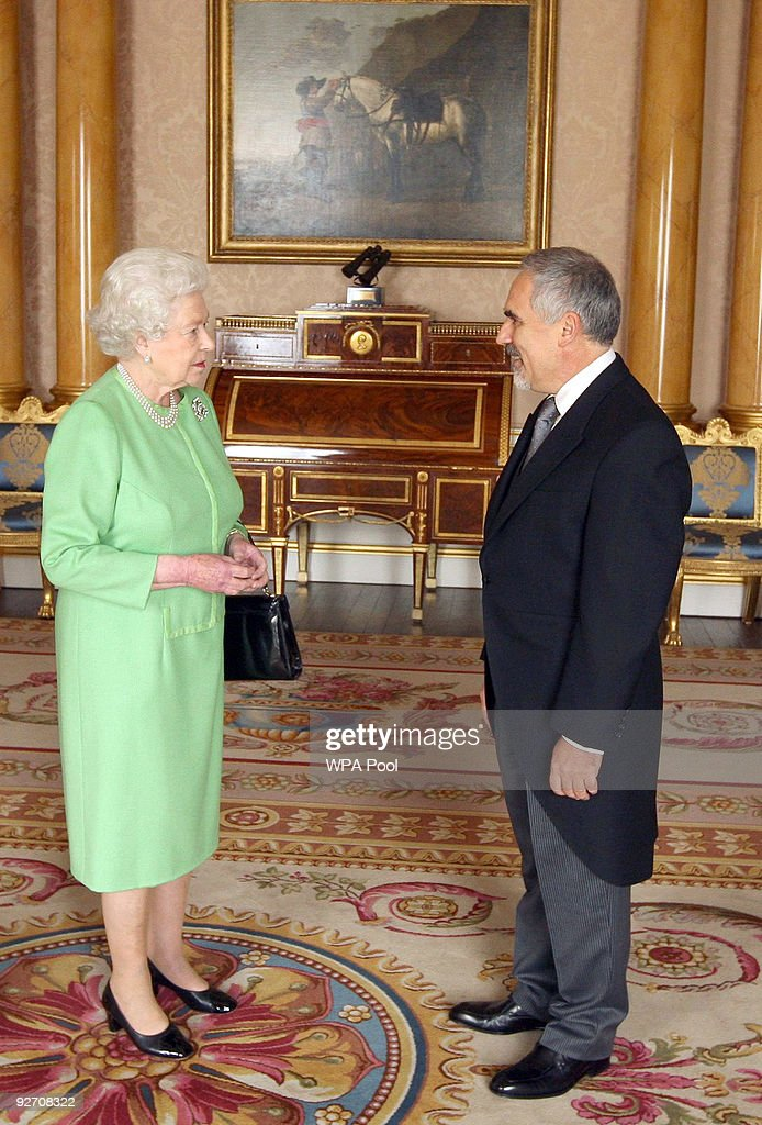 Queen Elizabeth II receives the Ambassador of Bulgaria, Lyubomir Kyuchukov at Buckingham Palace on November 4, 2009 in London, England.