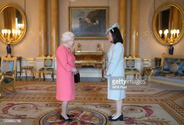 Queen Elizabeth II receives the Ambassador of El Salvador Gilda Guadalupe VelasquezPaz during a private audience at Buckingham Palace on February 27...