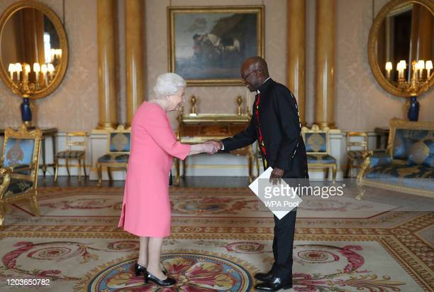 Queen Elizabeth II receives the Ambassador of the Republic of Angola General Geraldo Sachipengo Nunda during a private audience at Buckingham Palace...