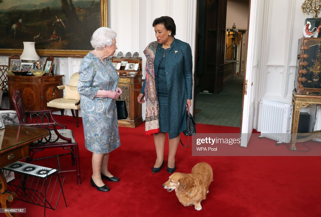 Queen Elizabeth II Receives Commonwealth Secretary-General : News Photo