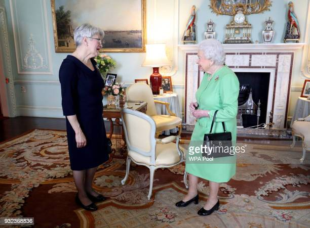 Queen Elizabeth II receives the Lieutenant Governor of Prince Edward Island Antoinette Perry during a private audience at Buckingham Palace on March...