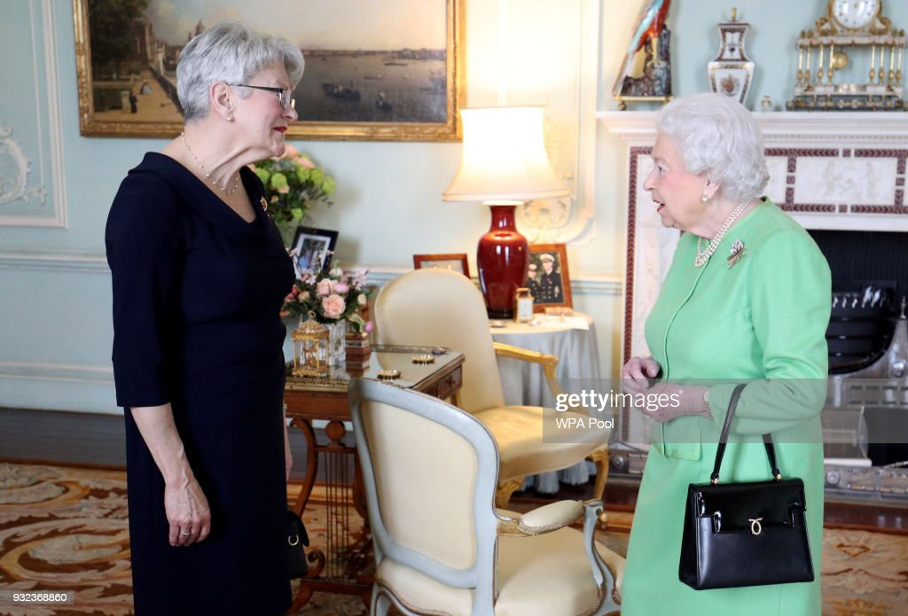 Queen Elizabeth II receives the Lieutenant Governor of Prince Edward Island Antoinette Perry during a private audience at Buckingham Palace on March 15, 2018 in London, England.
