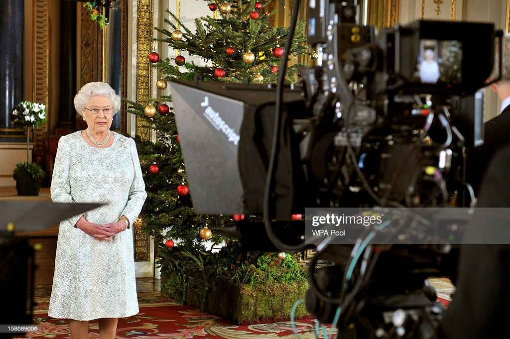 Queen Elizabeth II records her Christmas message to the Commonwealth in 3D for the first time from the White Drawing Room of Buckingham Palace on December 7, 2012 in London, England.