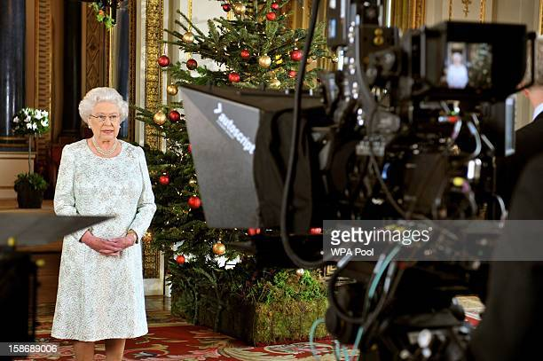 Queen Elizabeth II records her Christmas message to the Commonwealth in 3D for the first time from the White Drawing Room of Buckingham Palace on...