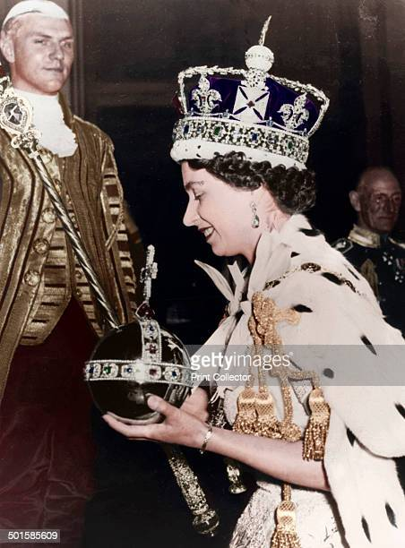 Queen Elizabeth II returning to Buckingham Palace after her Coronation at Westminster Abbey, London, June 1953. .