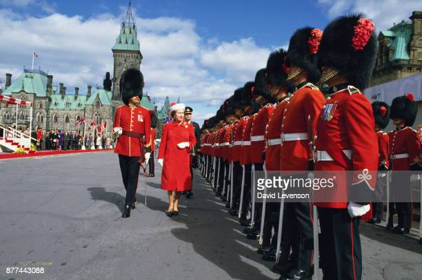 Queen Elizabeth II reviewing Guards outside Rideau Hall in Ottawa Canada in September 1984