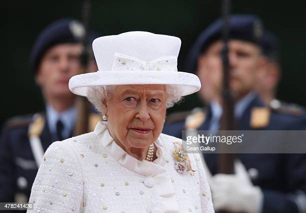 Queen Elizabeth II reviews a guard of honour upon her arrival at Schloss Bellevue palace on the second of the royal couple's fourday visit to Germany...