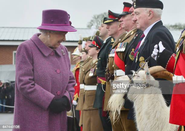 Queen Elizabeth II reviews members of The Royal Welsh Regimental Family and one of two regimental goats as she visits to mark St David's Day at...