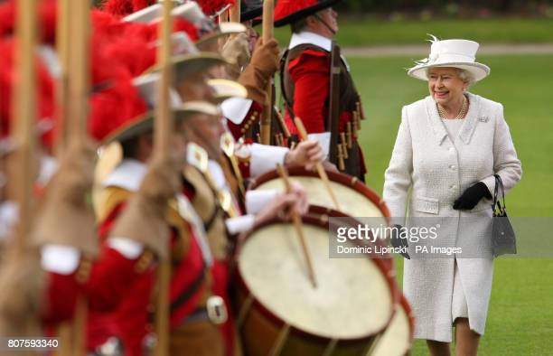 Queen Elizabeth II reviews the Company of Pikemen and Musketeers of the Honourable Artillery Company at Armoury House in central London