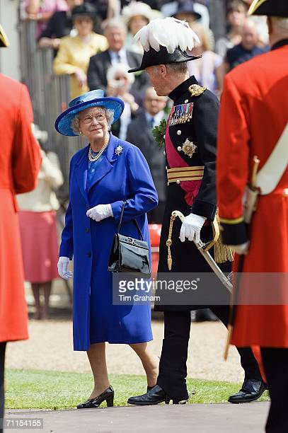 Queen Elizabeth II reviews the Founder's Day Parade and takes the salute at the Royal Hospital Chelsea on June 8, 2006 in London, England.