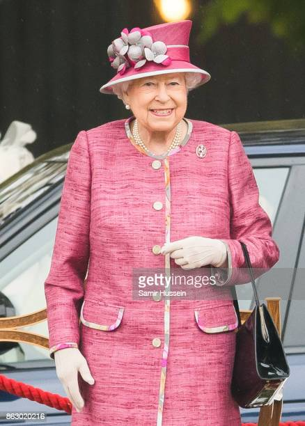 Queen Elizabeth II reviews The King's Troop Royal Horse Artillery on the 70th anniversary at Hyde Park on October 19, 2017 in London, England. The...