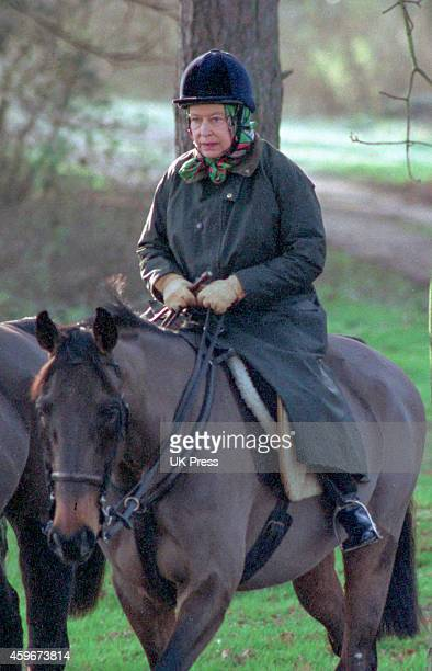 Queen Elizabeth II riding at Sandringham in Norfolk wearing a riding hat on February 1 1992 in Sandringham United Kingdom