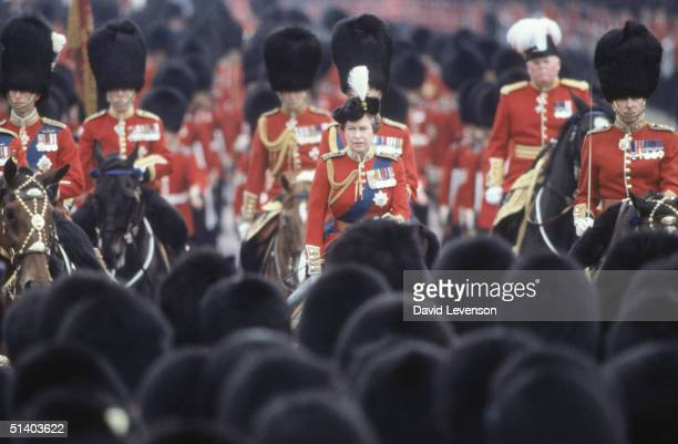 Queen Elizabeth II riding down The Mall to Buckingham Palace at the Trooping the Colour ceremony in London on June 11 1983