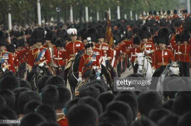 Queen Elizabeth II riding sidesaddle on 'Burmese' a gift from the Canadian Royal Mounted Police during the Trooping the Colour ceremony on Horse...