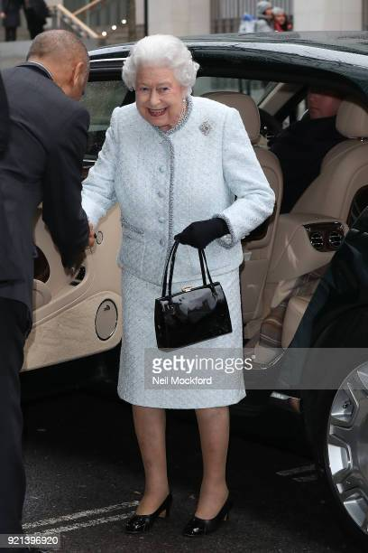 Queen Elizabeth II seen attending the Richard Quinn show during London Fashion Week at the BFC Showspace during LFW February 2018 on February 20 2018...