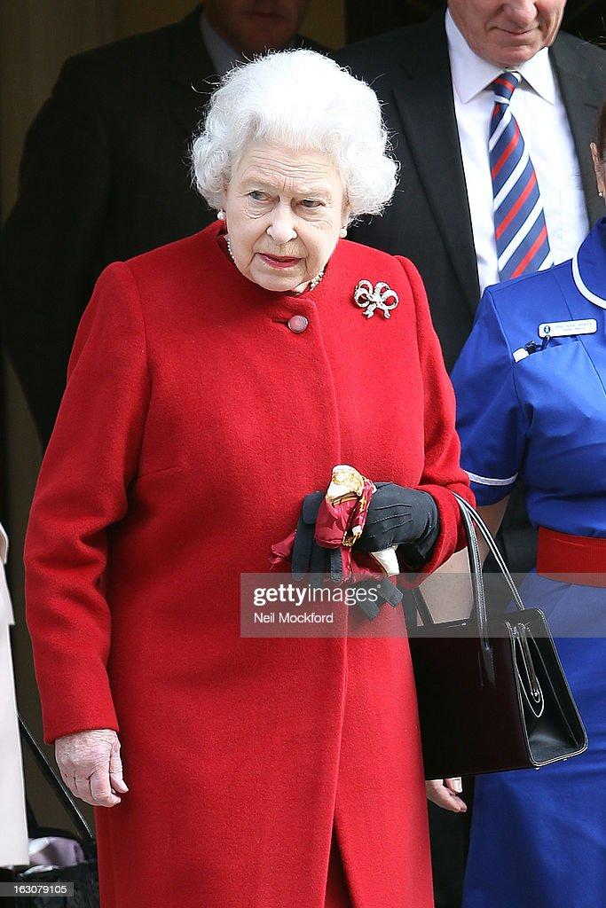 Queen Elizabeth II seen leaving hospital on March 4, 2013 in London, England.