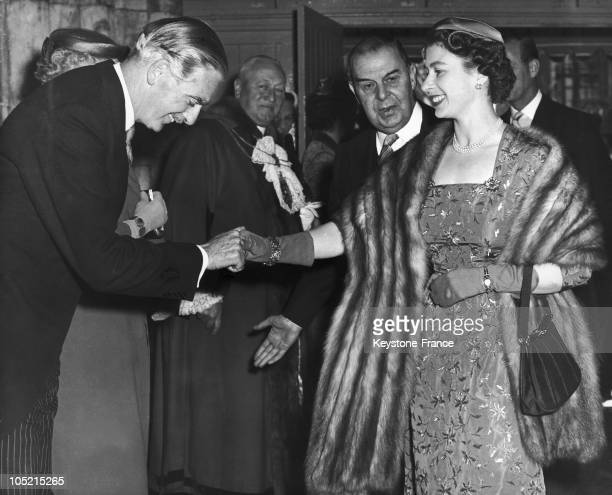 Queen Elizabeth Ii Shaking Hands With The Conservative British Prime Minister Sir Anthony Eden At The Banquet Hall In London Town In May 1956
