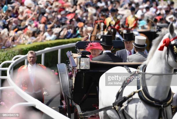 Queen Elizabeth II Sheikh Isa bin Salman Al Khalifa Sir Nicholas Bacon and Prince Andrew Duke of York arrive in the Royal procession on day 3 of...