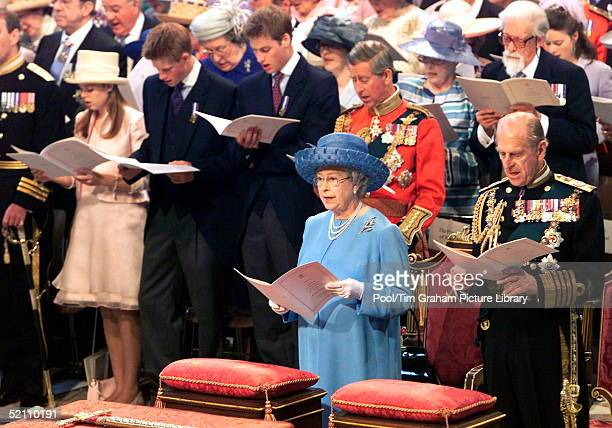 Queen Elizabeth II Singing During A Service Of Thanksgiving To Mark Her Golden Jubilee At St Paul's Cathedral With Her Are Prince Philip And Behind...